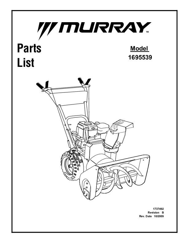 Murray Walk Behind 1695539 Snow Blower Parts Manual