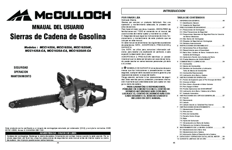 McCulloch MCC1435A MCC1635A MCC1635AK MCC1435A CA MCC1635A