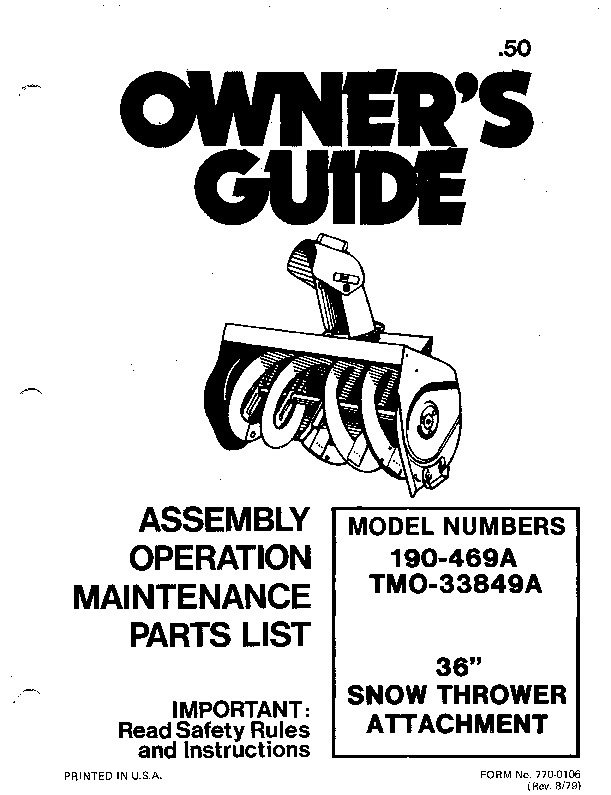 MTD 190-469A TMO 33849A 36-Inch Snow Blower Owners Manual