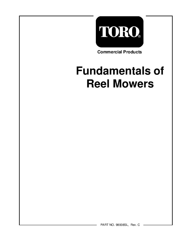 Toro Commercial Products Fundamentals Reel Mowers 98008SL