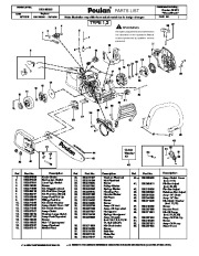 Poulan S1970 Chainsaw Parts List, 2006