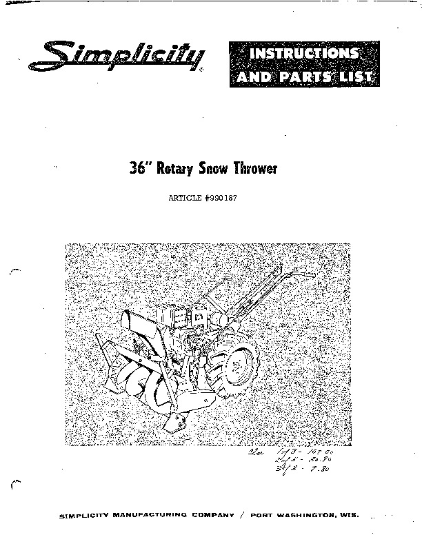 Simplicity 990187 36-Inch Snow Blower Owners Parts Manual