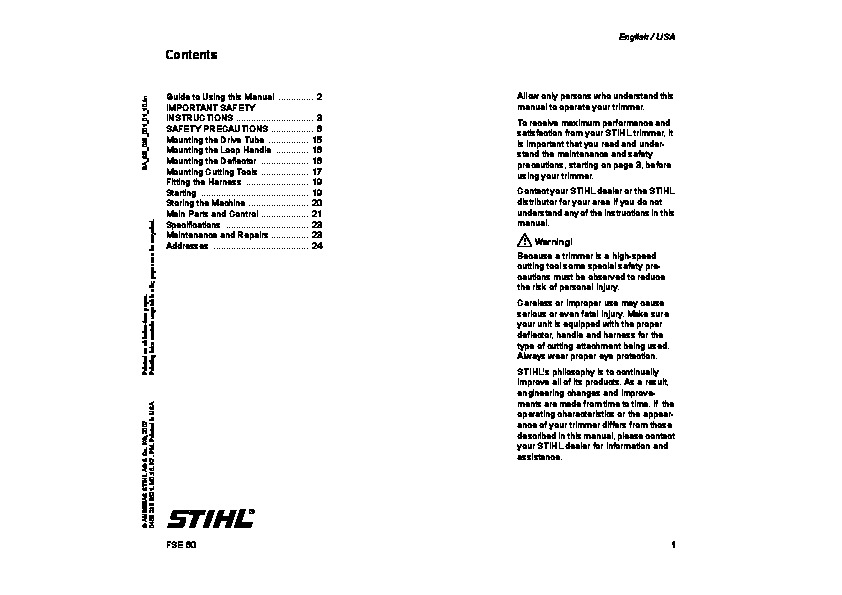 STIHL FSE 60 Trimmer Owners Manual