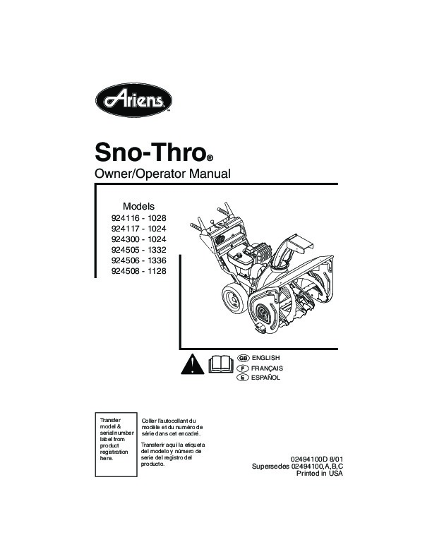 Ariens Sno Thro 924116 17 924300 924505 6 8 Snow Blower
