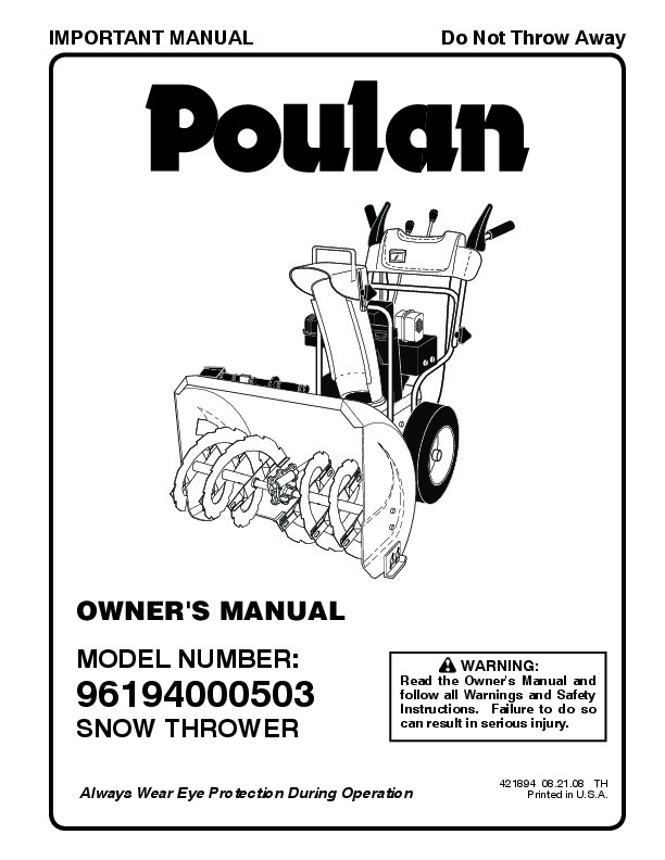 Poulan 96194000503 421894 Snow Blower Owners Manual, 2008