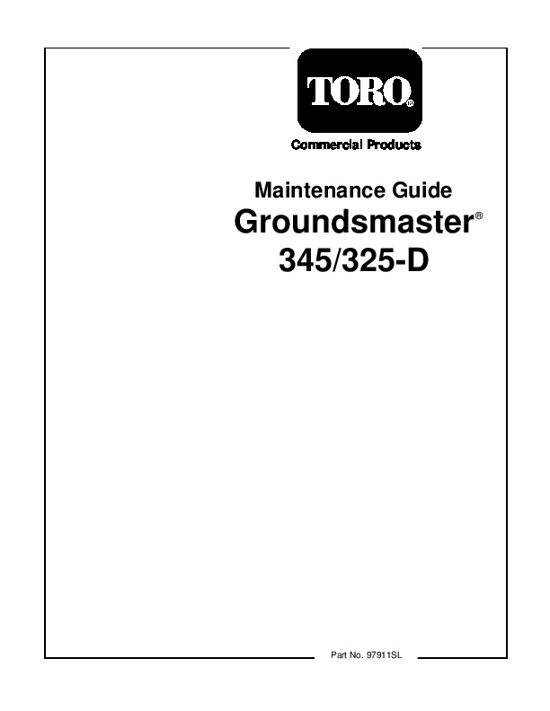 Toro Commercial Products Maintenance Guide Groundsmaster