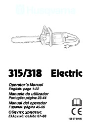 Husqvarna 315 318 Electric Chainsaw Owners Manual, 2002