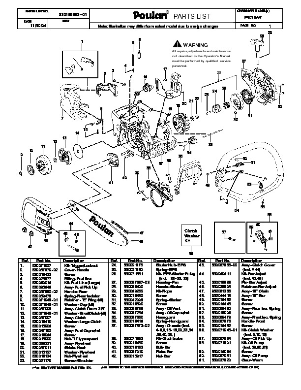 Poulan P4018AV Chainsaw Parts List, 2004