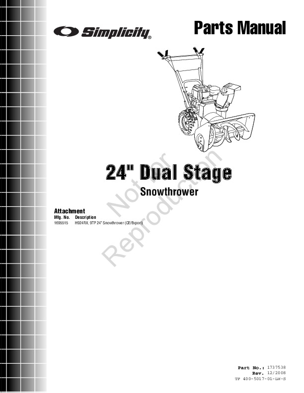 Simplicity 1695515 24-Inch Dual Stage Snow Blower Owners