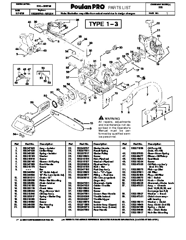 Poulan Pro 220 Chainsaw Parts List, 2006