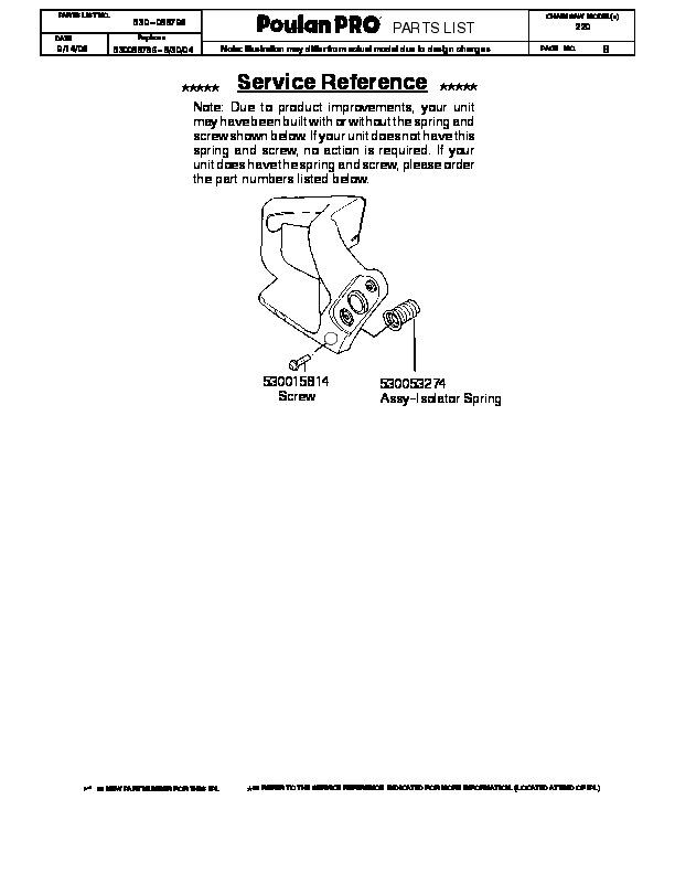Poulan Pro 220 Chainsaw Parts List, 2006