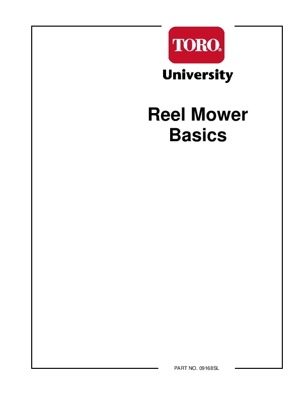 Toro Reel Mower Basics 09168SL Lawn Mowers