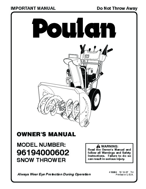 Poulan 96194000602 418984 Snow Blower Owners Manual, 2007