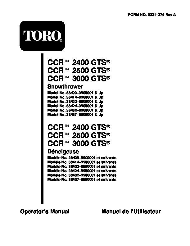 Toro CCR 2500 GTS 38422 38424 Snow Blower Owners and