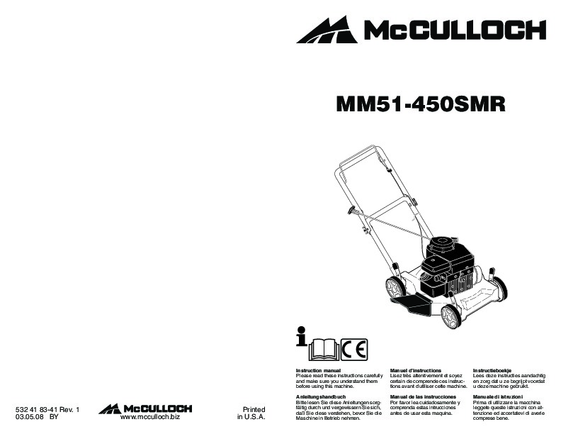 McCulloch MM51 450 SMR Lawn Mower Owners Manual, 2009