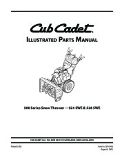 MTD Cub Cadet 524 SWE 528 SWE Snow Blower Owners Manual