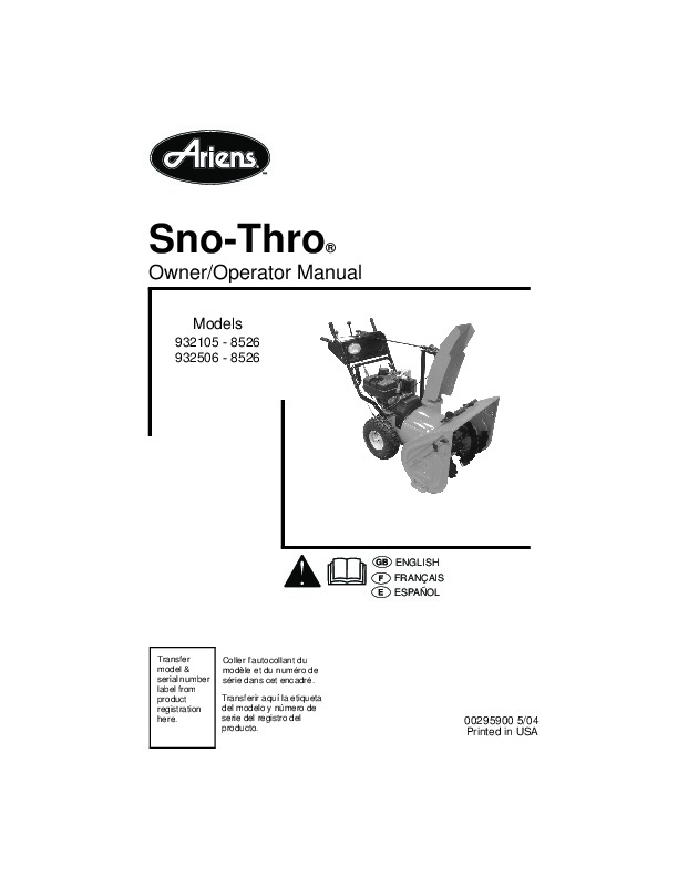 Ariens Sno Thro 932105 8526 932506 8526 Snow Blower Owners
