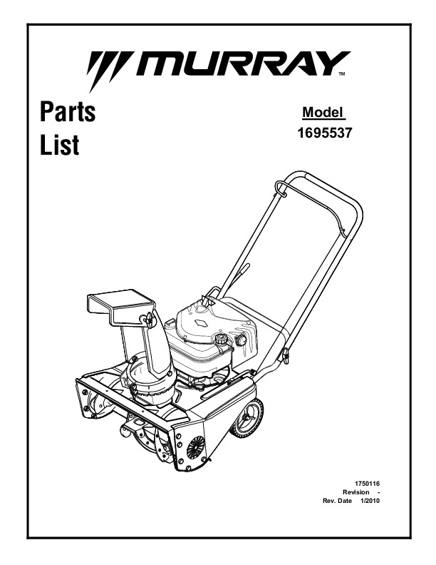 Murray Walk Behind 1695537 21-Inch Snow Blower Parts Manual