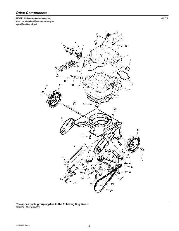 Murray Walk Behind 1695537 21-Inch Snow Blower Parts Manual
