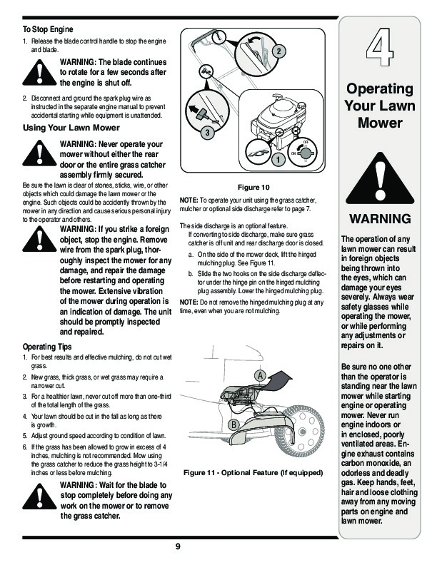 MTD Gold 580 21 Inch Rotary Mower Lawn Mower Owners Manual