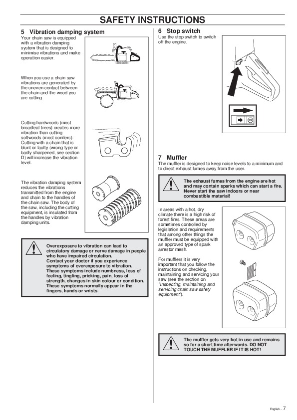 Husqvarna 362XP 365 371XP Chainsaw Owners Manual, 1999