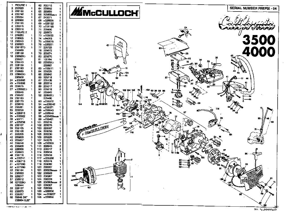 McCulloch California 3500 4000 Chainsaw Service Parts