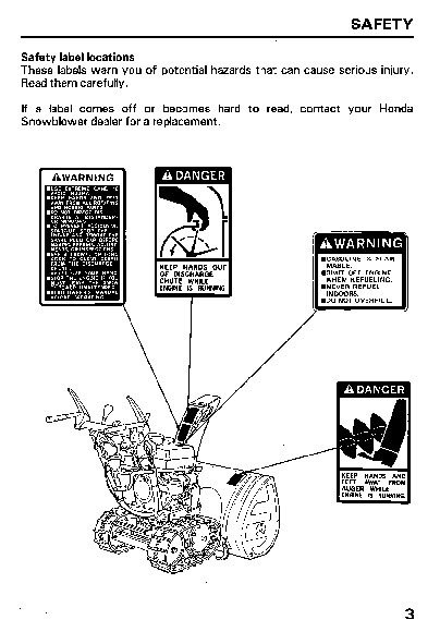 Honda HS624 HS828 Snow Blower Owners Manual