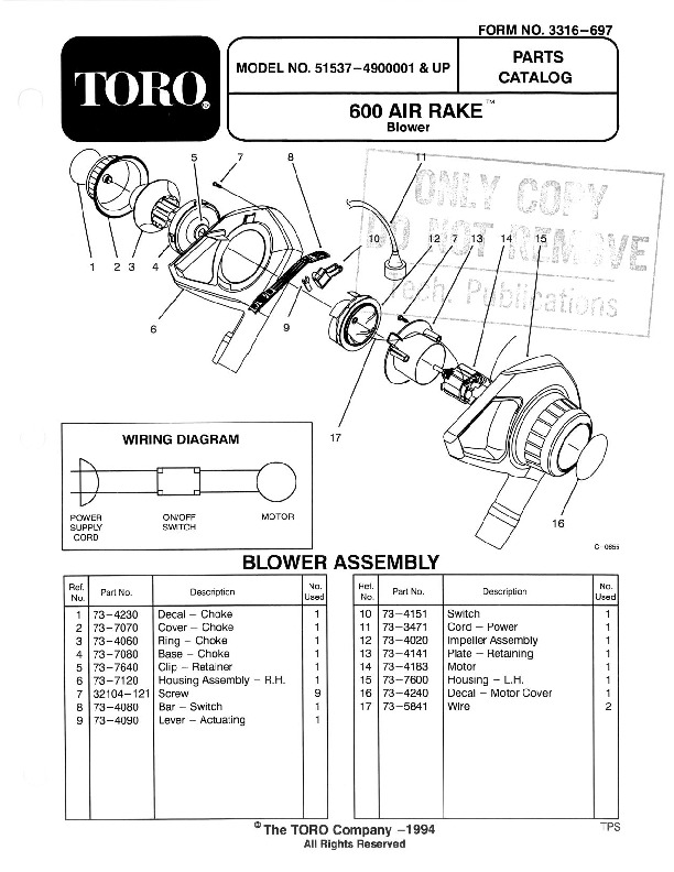 Toro 51537 600 Air Rake Manual, 1994