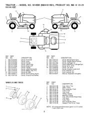 Weed Eater 96041011901 Lawn Tractor Parts List, 2010