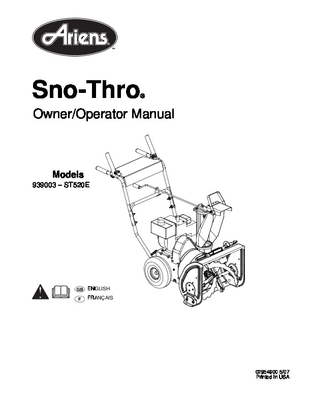 Ariens Sno Thro 939003 ST520E Snow Blower Owners Manual