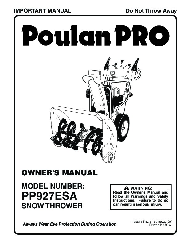 Poulan Pro PP927ESA 183616 Snow Blower Owners Manual, 2002