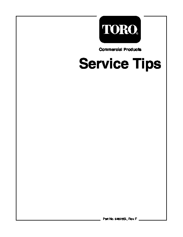Toro Commercial Products Service Tips 94826SL Rev F Manual