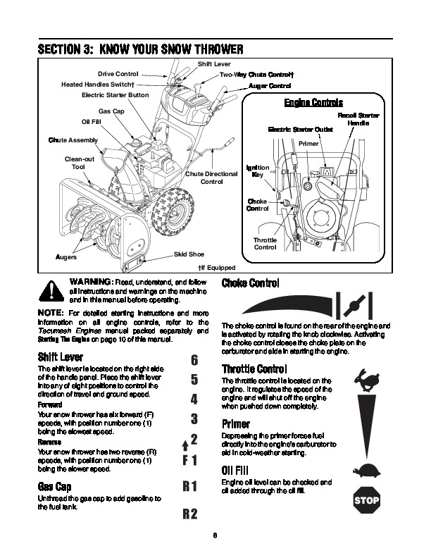 MTD H K Style Snow Blower Owners Manual