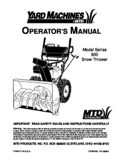 MTD Yard Machines 800 Snow Blower Owners Manual