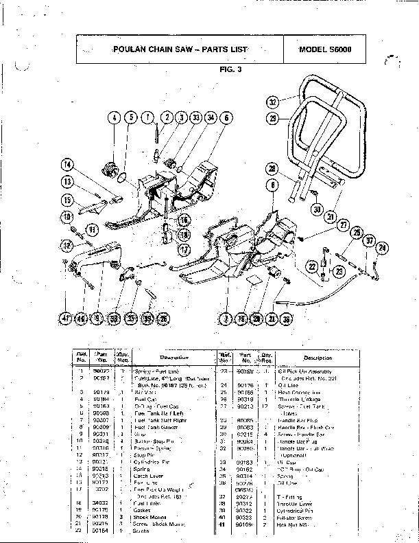 Poulan S6000 Chainsaw Parts List