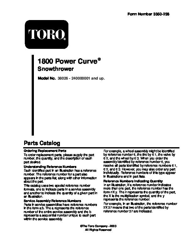 Toro 38026 1800 Power Curve Snowblower Manual, 2007-2008