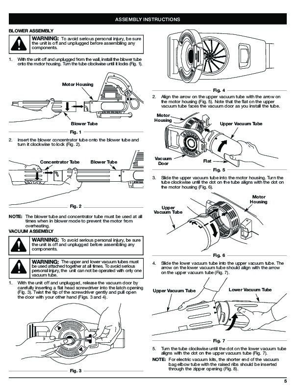 MTD Troy-Bilt TB190BV Electric Blower Vacuum Owners Manual