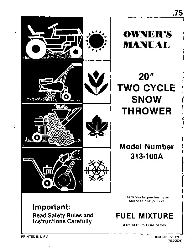 MTD 313-100A Two Cycle Snow Blower Owners Manual