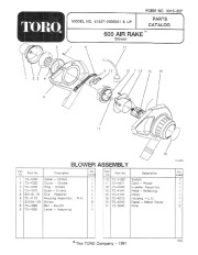 Toro 51537 600 TX Air Rake Manual, 1992