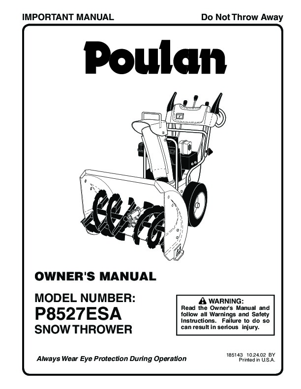 Poulan P8527ESA 185143 Snow Blower Owners Manual, 2002