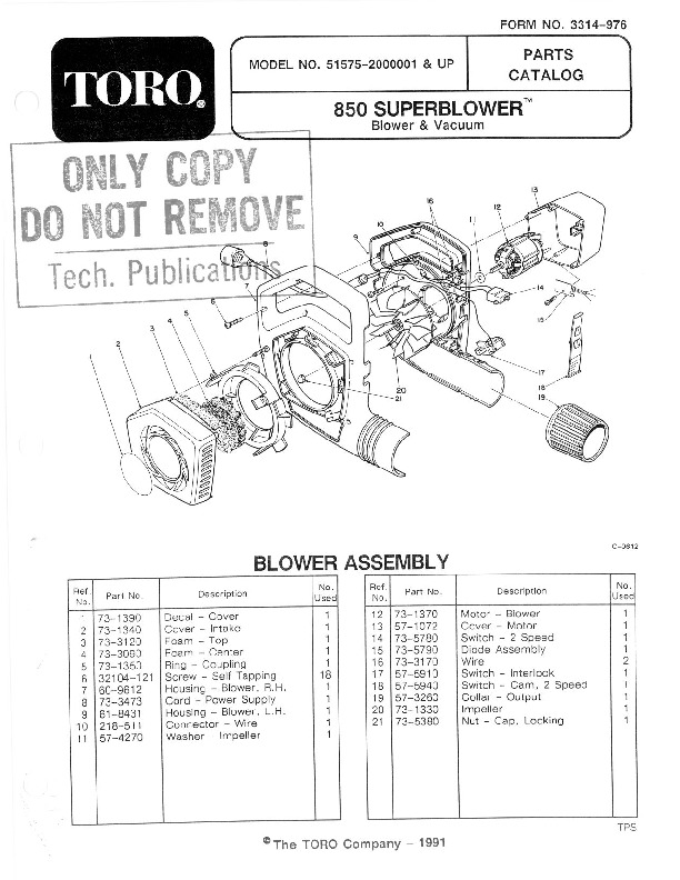 Toro 51575 850 Super Blower Manual, 1992