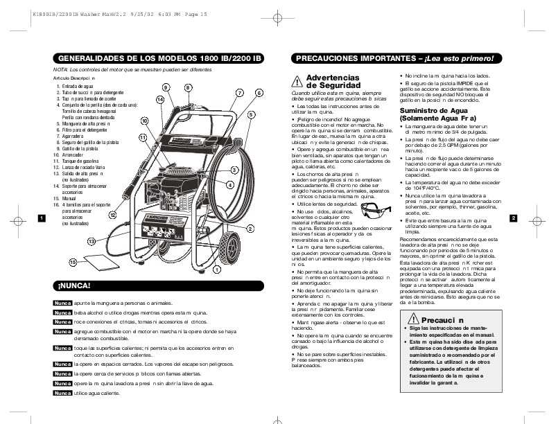 Kärcher G 1800 LB K 1800 IB 2200 IB Gasoline Power High