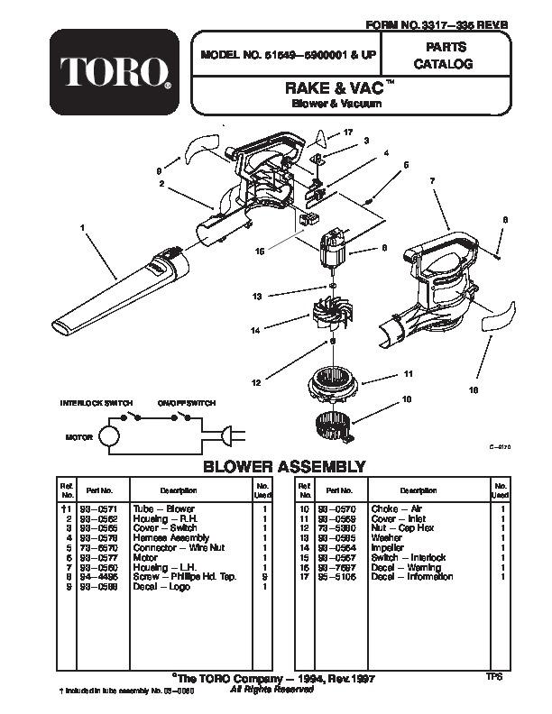 Toro 51549 Rake and Vac Blower Manual, 1999