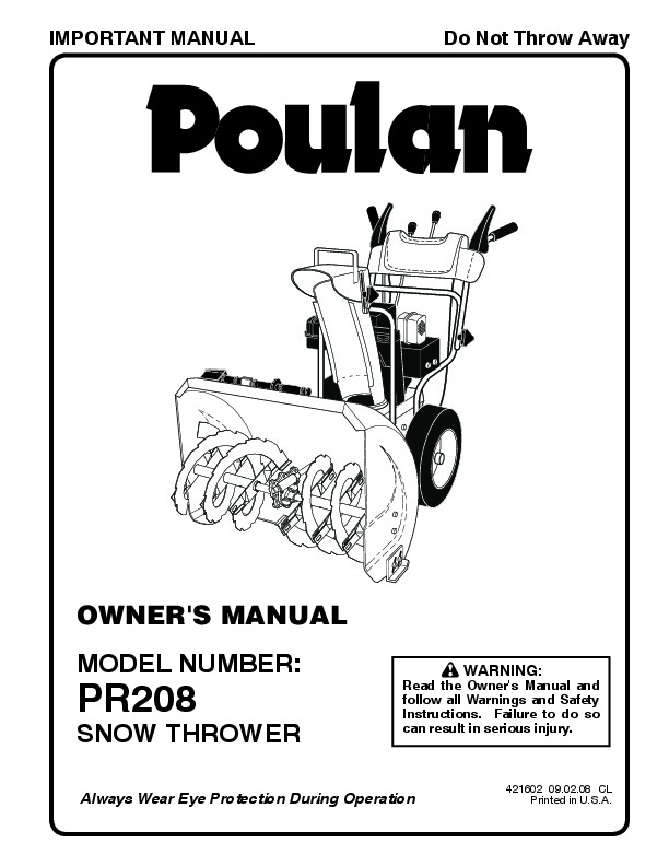 Poulan Pro PR208 421602 Snow Blower Owners Manual, 2008