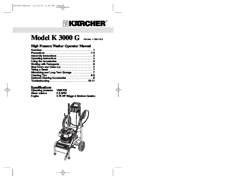 Kärcher K 3000 G Gasoline Power High Pressure Washer