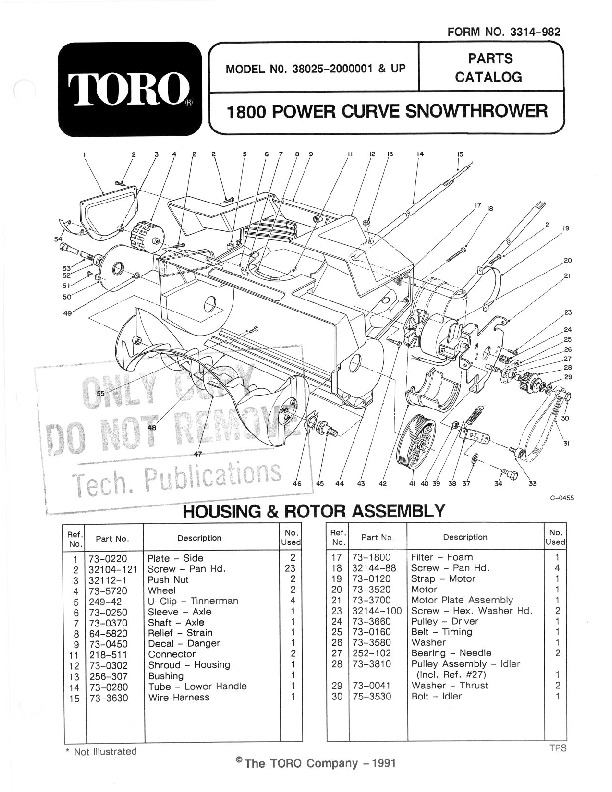 Toro 38025 1800 Power Curve Snowblower Manual, 1992-1993