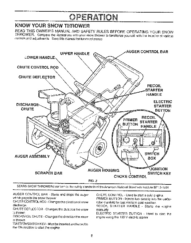 Craftsman 536.884351 20-Inch Snow Blower Owners Manual