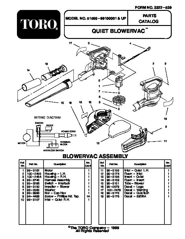 Toro 51566 Quiet Blower Vac Manual, 2001