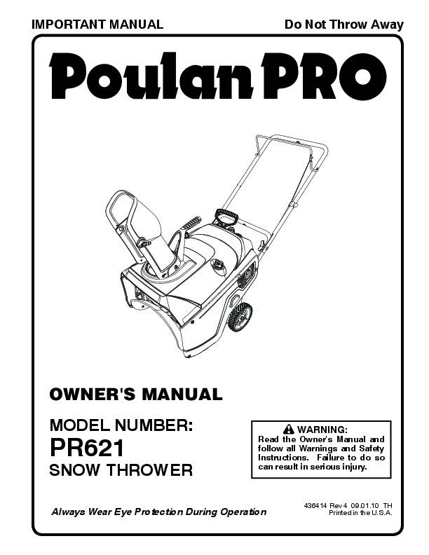 Poulan Pro PR621 436414 Snow Blower Owners Manual, 2010