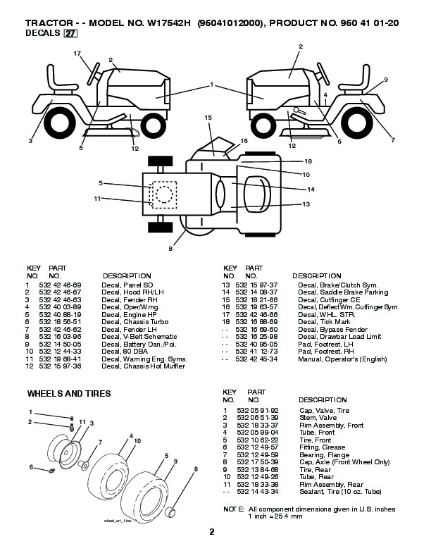 Weed Eater 96041012000 Lawn Tractor Parts List, 2010